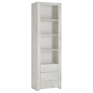 Angel Tall and Narrow Bookcase, Whitewashed Oak