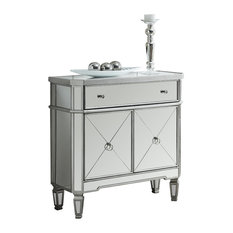 """Monarch Specialties - 32"""" Mirrored Accent Table, Brushed Silver - Side Tables and End Tables"""