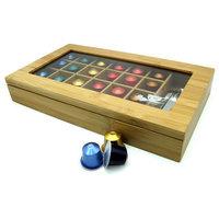 Modern Home Bamboo Nespresso 24 Capsule Organizer/Display Box With Accessory