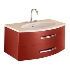 Exceptional ISABAGNO   Estrema 2 Drawer Vanity With Marble Countertop And Ceramic  Washbasin, Matte Red