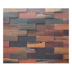 Wood Mosaic Rectangle Brick Stack, Box 10 Sheets