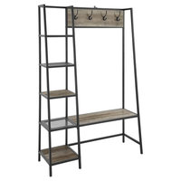 """Modern Industrial Hall Tree With Storage Shelving, Gray Wash, 68"""""""