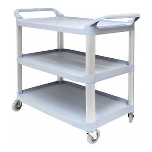 Contemporary Serving Trolley Cart, Aluminium Frame and Plastic Shelves, Grey