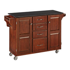 Large Kitchen Cart, Plenty Storage Space With Spice Rack and Black Granite Top,