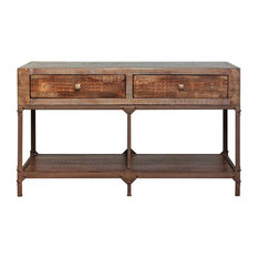 Crafters and Weavers - Industrial Style Rustic Solid Wood and Metal Sofa Table Console Table - Console Tables