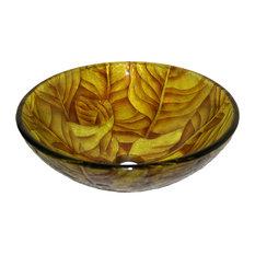 Legion Furniture Golden Leaves Tempered Glass Vessel Sink