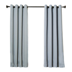 """Solid Grommet Top Thermal Insulated Blackout Curtains, Gray, 63"""""""