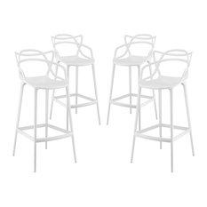 LexMod - Entangled Bar Stools, Set of 4, White - Bar Stools and Counter Stools