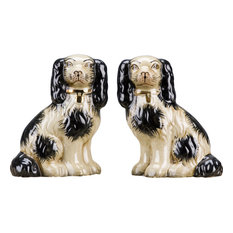 """Staffordshire Reproduction Dogs, 6"""", Black, 2-Piece Set"""
