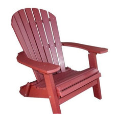 Phat Tommy Recycled Poly Resin Folding Deluxe Adirondack Chair Furniture, Merlot