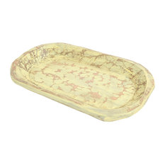 Painted Rustic Wooden Dough Bowl, Upbeat Yellow