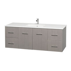 Single Bathroom Vanity With Sink, Gray Oak, White Man-Made Stone Countertop, 60""