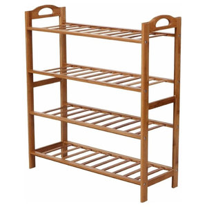 Traditional Shoe Storage Rack in Natural Bamboo Wood with 4 Tiers Slatted Design