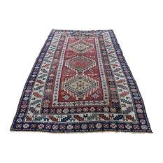 "Antique Caucasian Kazak With Figures Slightly Worn Oriental Rug, 4'2"" x 7'5"""
