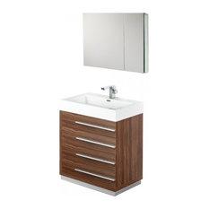 "Fresca Livello 30"" Walnut Modern Bathroom Vanity With Medicine Cabinet"