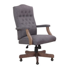 Boss Office Products   Boss Refined Rustic Executive Chair, Slate Gray  Commercial Grade   Office