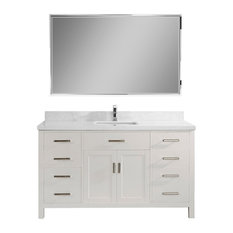 "Kalize II 60"" Vanity Set, White, Top: Solid Surface Marble"