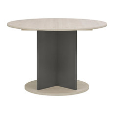 Barolo Round Extendable Dining Table, Whitewashed Pine