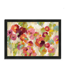 """Coral And Emerald Garden I"" By Silvia Vassileva, Framed Painting Print"