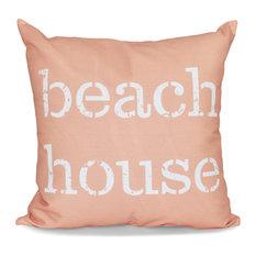 """16""""x16"""" Beach House, Word Print Pillow, Coral"""