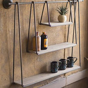 GwG Outlet Wood And Metal Triple Hanging Shelf CHW1001