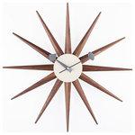 Wooden Sunburst Clock Wood Contemporary Clocks By
