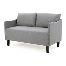 Palmer Studded Frame Fabric Loveseat, Gray
