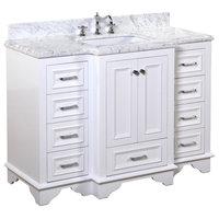 "Nantucket Bath Vanity, Base: White, 48"", Top: Carrara Marble"