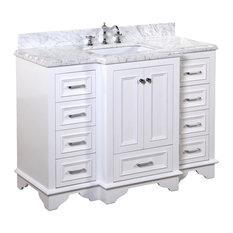 "Nantucket Bath Vanity, Base: White, 48"", Top: Carrara Marble"