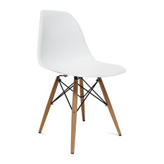 Fine Mod Imports Wood Leg Dining Side Chair, White