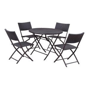 Bistro Dining Rattan Wicker Outdoor Folding Table and Chairs, 5-Piece Set