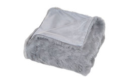 Luxury Long-Haired Faux Fur Throw, Gray