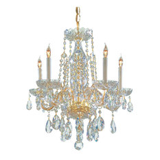 Crystorama Traditional Crystal 1 Tier Chandelier, Polished Brass