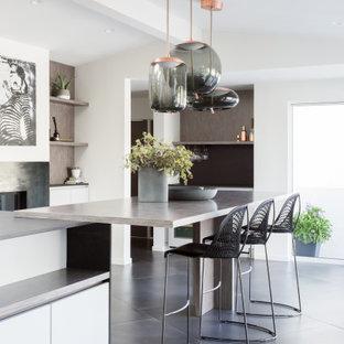 На фото: кухня-столовая среднего размера в стиле модернизм с белыми стенами, полом из керамогранита, угловым камином, фасадом камина из металла, серым полом, сводчатым потолком и панелями на части стены с