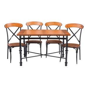 Broxburn Light Brown Wood and Metal 5-Piece Dining Set Wholesale Interiors