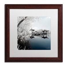 "Philippe Hugonnard 'Blue Lake I' Art, Wood Frame, White Matte, 16""x16"""