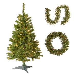 "4' Fir Grande Wrapped Tree,Norwood Fir Garland,36"" Crestwood Spruce Wreath"