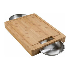 Pro Carving/Cutting Board w/ Stainless Steel Bowls