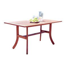 Outdoor Eucalyptus Rectangular Table With Curvy Legs