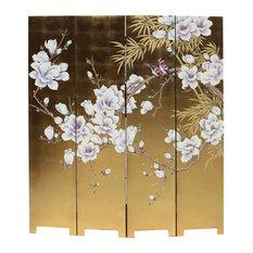 Chinese Golden Oriental Blossom White Peony Flower Birds Graphic Screen Hcs5259