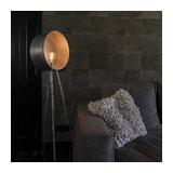 Vintage Round Floor Lamp Tripod Bamboo with Zinc - Barrel