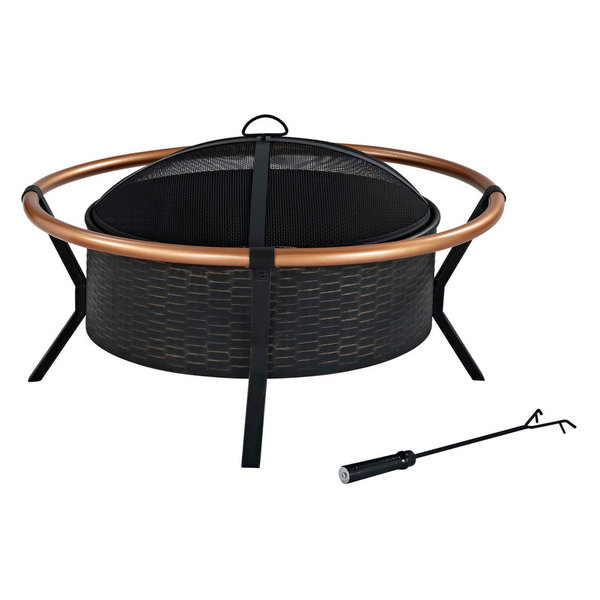 Add a unique flair to your outdoor gatherings with the Crosley Yuma outdoor fire pit. Constructed of durable steel, the Yuma features a tough, all-weather powder-coated finish. Its deep bowl design will hold plenty of wood, perfect for roasting marshmallows or swapping stories. Finished with a decorative copper-on-steel ring, the Yuma will be the centerpiece of your backyard memories for years to come.Features : *Finish: Black*Material: Copper 20%, Steel 80%*Oversized bowl for longer and warmer fires*360° view of fire*Sturdy legs*Includes poker to keep fire stoked*Full coverage steel mesh lidSpecifications : *Product Dimensions : 20.75\