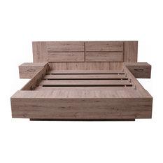 VIRGINIA Platform Bed with mattress 62.9 x 78.7 inch, Sonoma