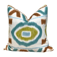 """20""""x20"""" Thom Filicia Abstract Ikat Decorative Pillow, Teal, Without Insert"""