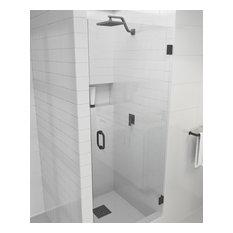 """78""""x25"""" Frameless Hinged Shower Door, Door Only Style, Matte Black"""
