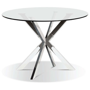 Modern Round Glasstop Dining Table