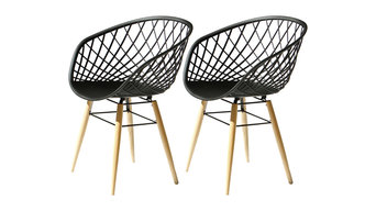 Sidera Rounded Chairs, Set of 2, Black