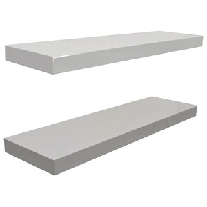 Gloss Wall Mounted 70 cm Floating Shelves, White, Set of 2