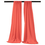 """LA Linen - LA Linen Polyester Poplin Backdrop Drape 96""""x58"""", 2 Pack, Coral - Take function and aesthetics to new heights with the LA Backdrop Drape. Creating the ambiance you have always envisoned to make 1 space become 2, this drape looks stylish while doing it. This backdrop drape serges both bottom and sides for a classy finish. This drape serves as a backdrop or a divider and includes a pack of 2. The panels are designed for the pipe and drape system commonly found in the home and work spaces. The top has a 4"""" rod pocket. The premium grade spun polyester yarn fabric is soft yet functional. Stain and wrinkle resisitant, it can withstand being cleaned while maintaining its timeless look over 75+ washes. Its simple yet modern hue adds a pop of color to any room."""
