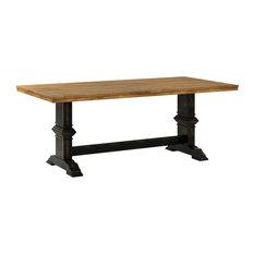 Arbor Hill Two-Tone Rectangular Trestle Base Dining Table Antique Black